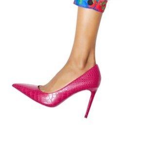 ZARA Hot Pink Animal Print Heeled Stiletto 38
